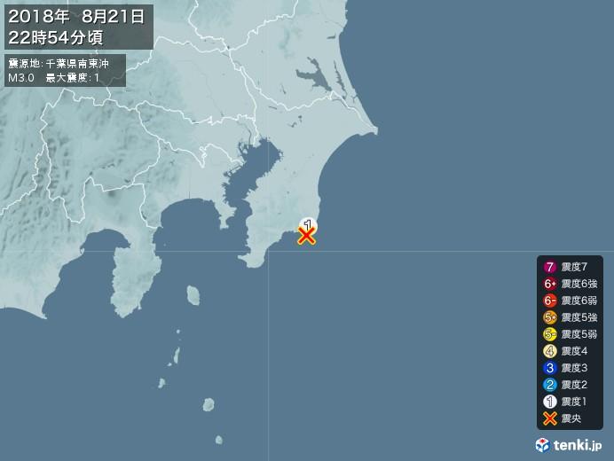 地震情報(2018年08月21日22時54分発生)