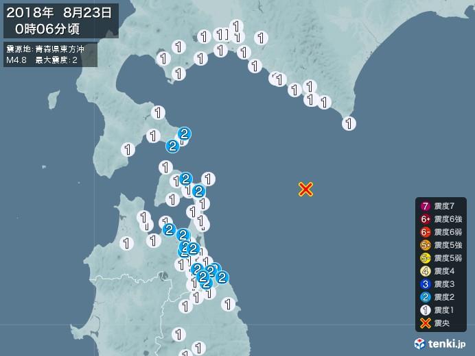 地震情報(2018年08月23日00時06分発生)