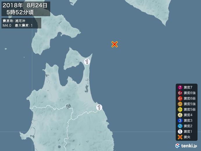 地震情報(2018年08月24日05時52分発生)