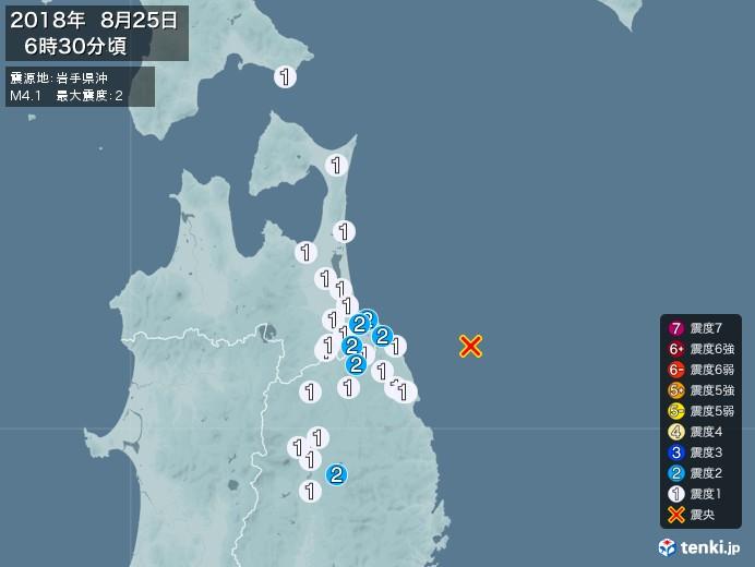 地震情報(2018年08月25日06時30分発生)