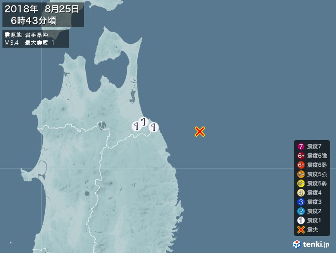 地震情報(2018年08月25日06時43分発生)