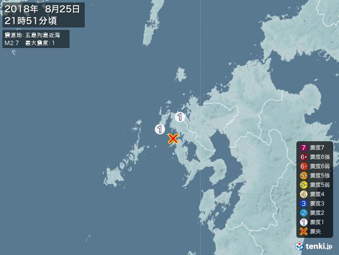 地震情報(2018年08月25日21時51分発生)