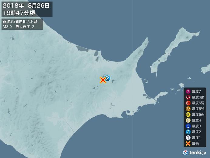 地震情報(2018年08月26日19時47分発生)