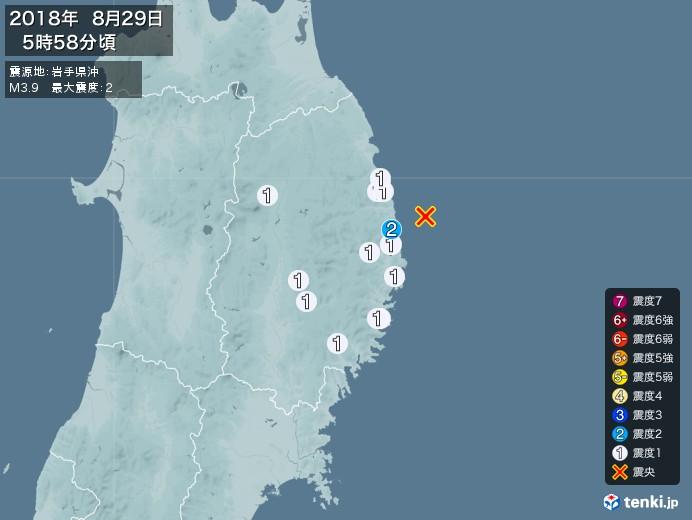 地震情報(2018年08月29日05時58分発生)