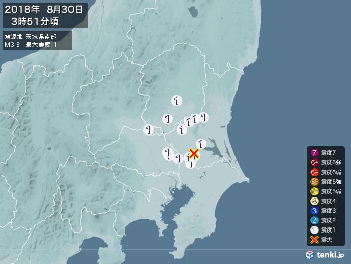 地震情報(2018年08月30日03時51分発生)