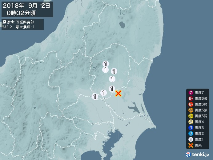 地震情報(2018年09月02日00時02分発生)
