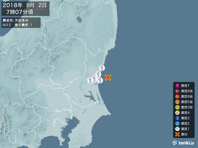 地震情報(2018年09月02日07時07分発生)