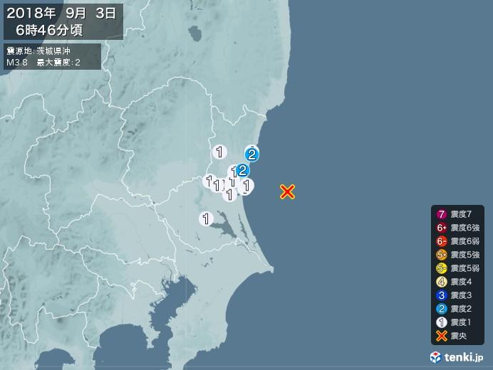 地震情報(2018年09月03日06時46分発生)