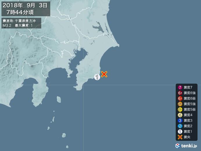 地震情報(2018年09月03日07時44分発生)