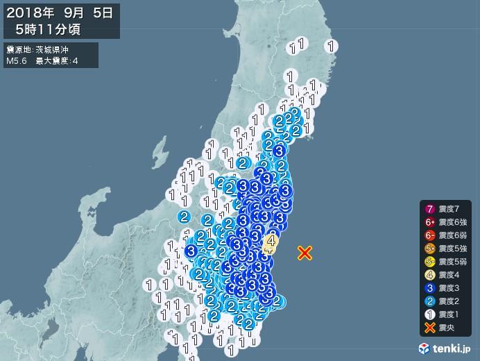 地震情報(2018年09月05日05時11分発生)