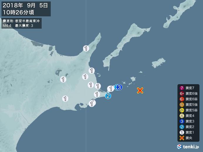 地震情報 2018年09月05日 10時26...