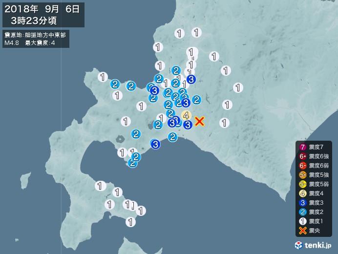 地震情報(2018年09月06日03時23分発生)