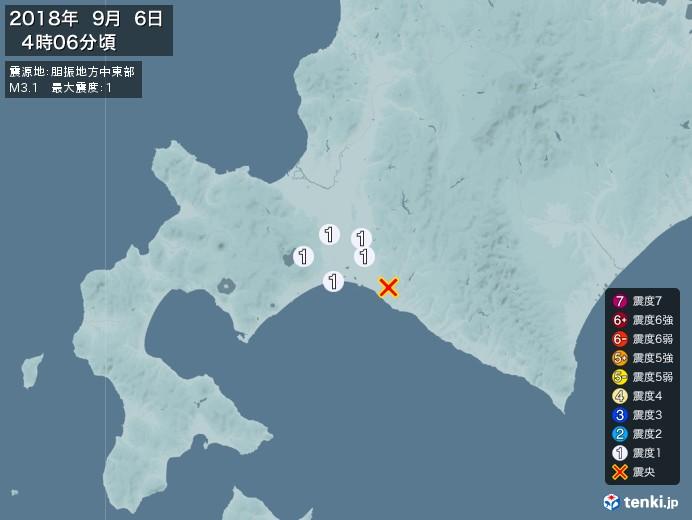 地震情報(2018年09月06日04時06分発生)