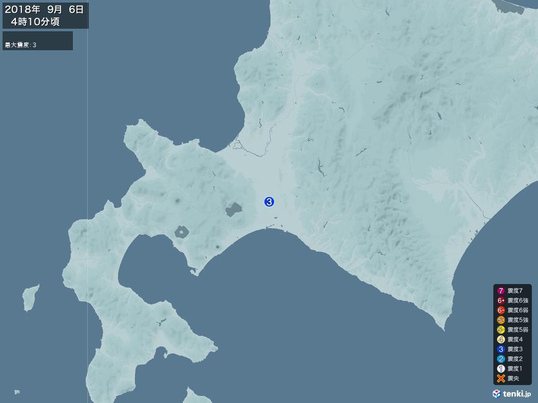 地震情報 2018年09月06日 04時10分頃発生 最大震度:3(拡大画像)
