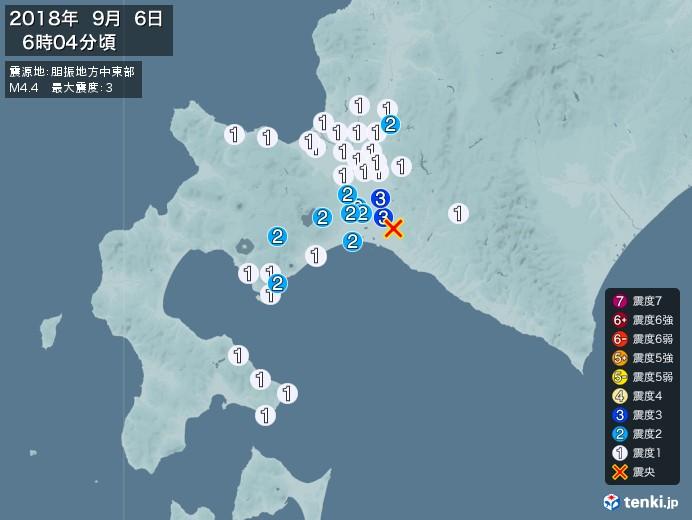 地震情報(2018年09月06日06時04分発生)