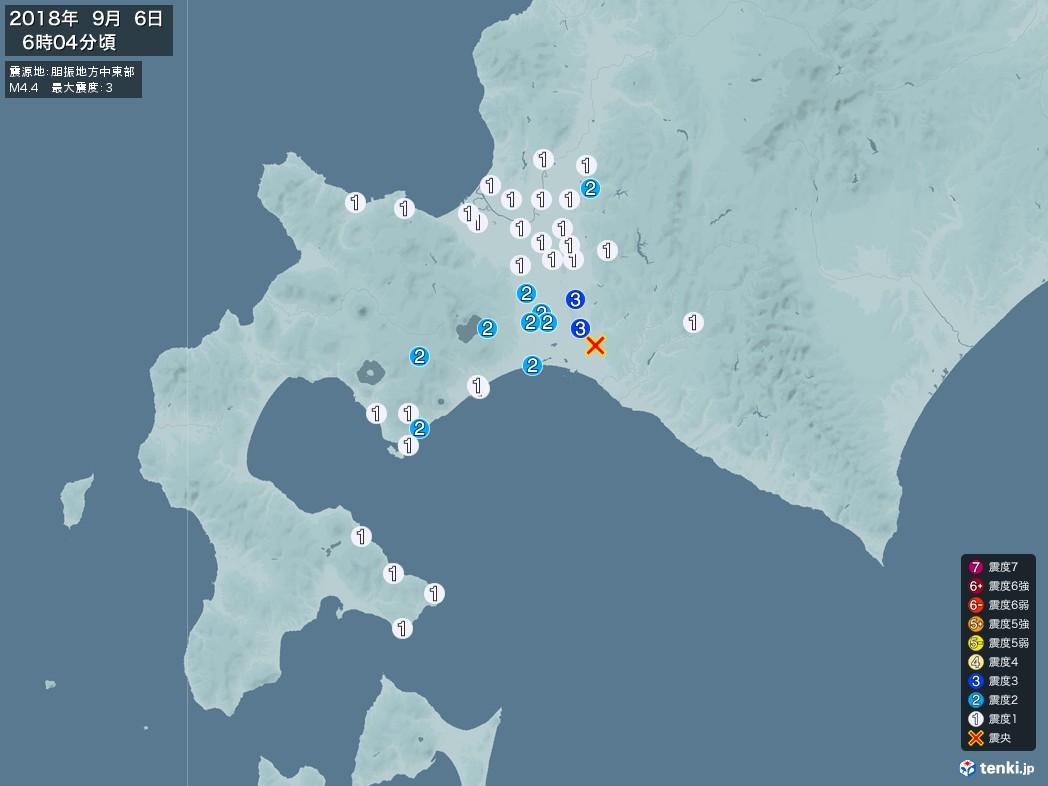 地震情報 2018年09月06日 06時04分頃発生 最大震度:3 震源地:胆振地方中東部(拡大画像)