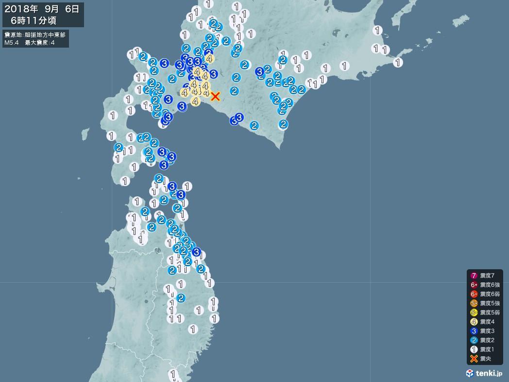 地震情報 2018年09月06日 06時11分頃発生 最大震度:4 震源地:胆振地方中東部(拡大画像)