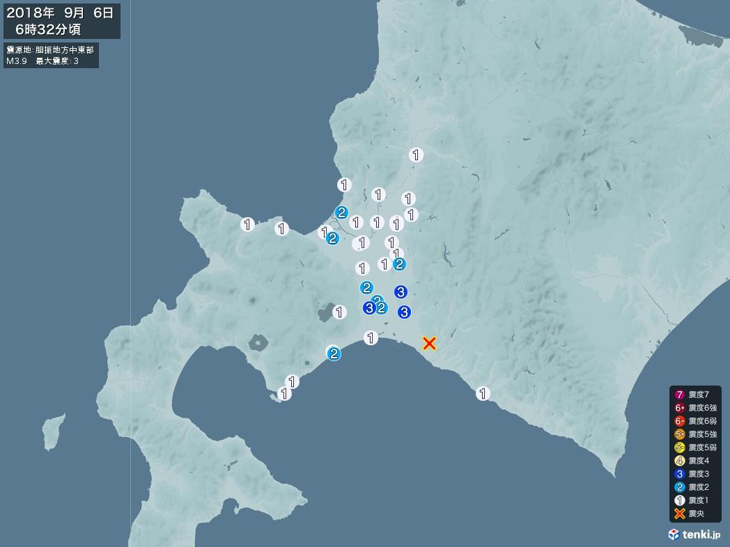 地震情報 2018年09月06日 06時32分頃発生 最大震度:3 震源地:胆振地方中東部(拡大画像)