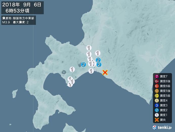 地震情報(2018年09月06日06時53分発生)