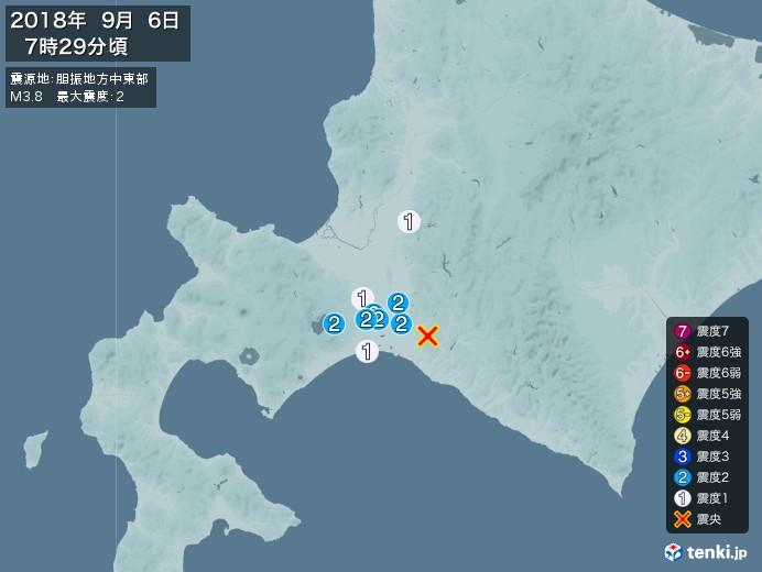 地震情報(2018年09月06日07時29分発生)