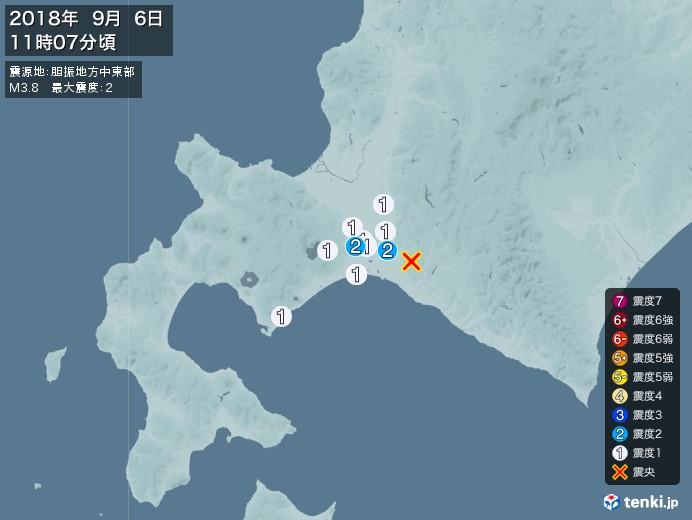地震情報(2018年09月06日11時07分発生)