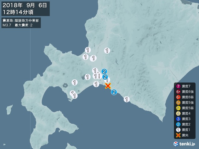 地震情報(2018年09月06日12時14分発生)