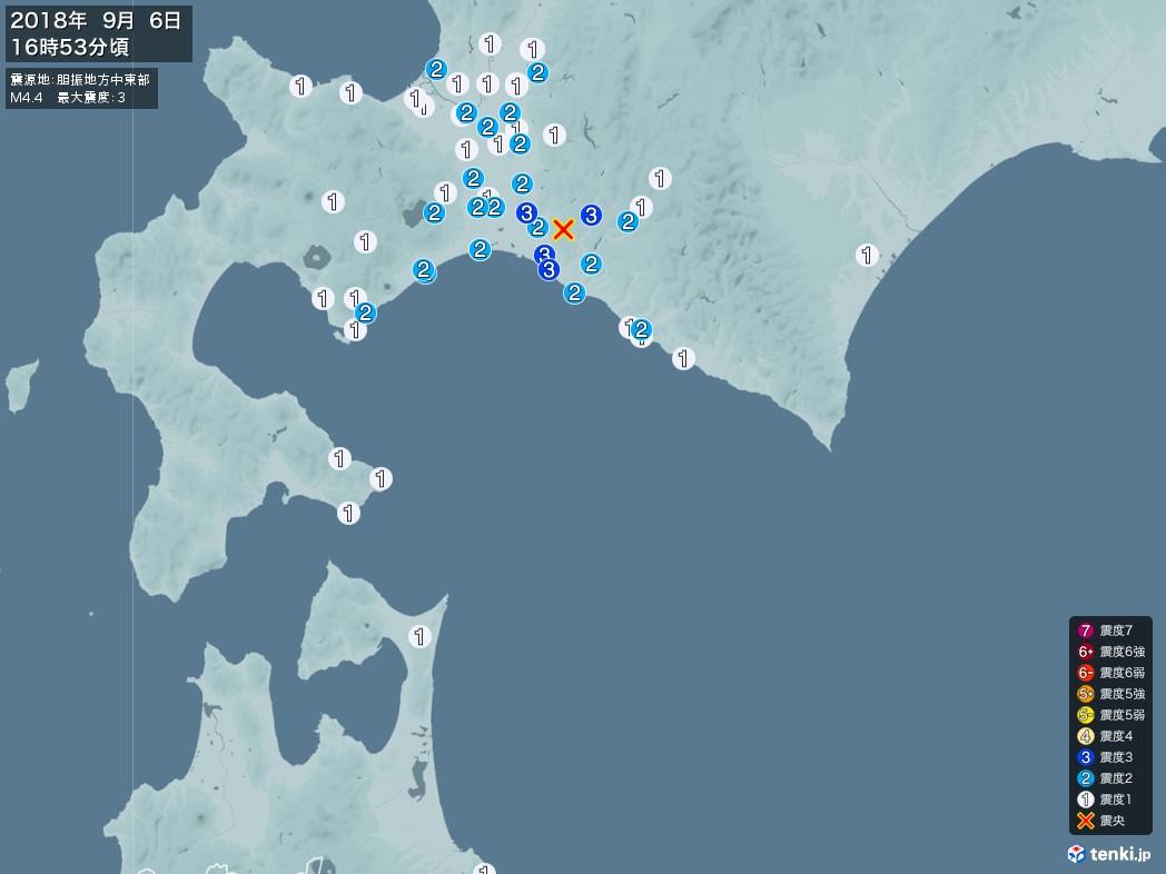 地震情報 2018年09月06日 16時53分頃発生 最大震度:3 震源地:胆振地方中東部(拡大画像)