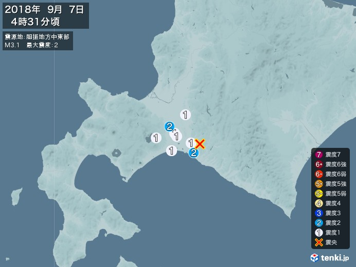 地震情報(2018年09月07日04時31分発生)