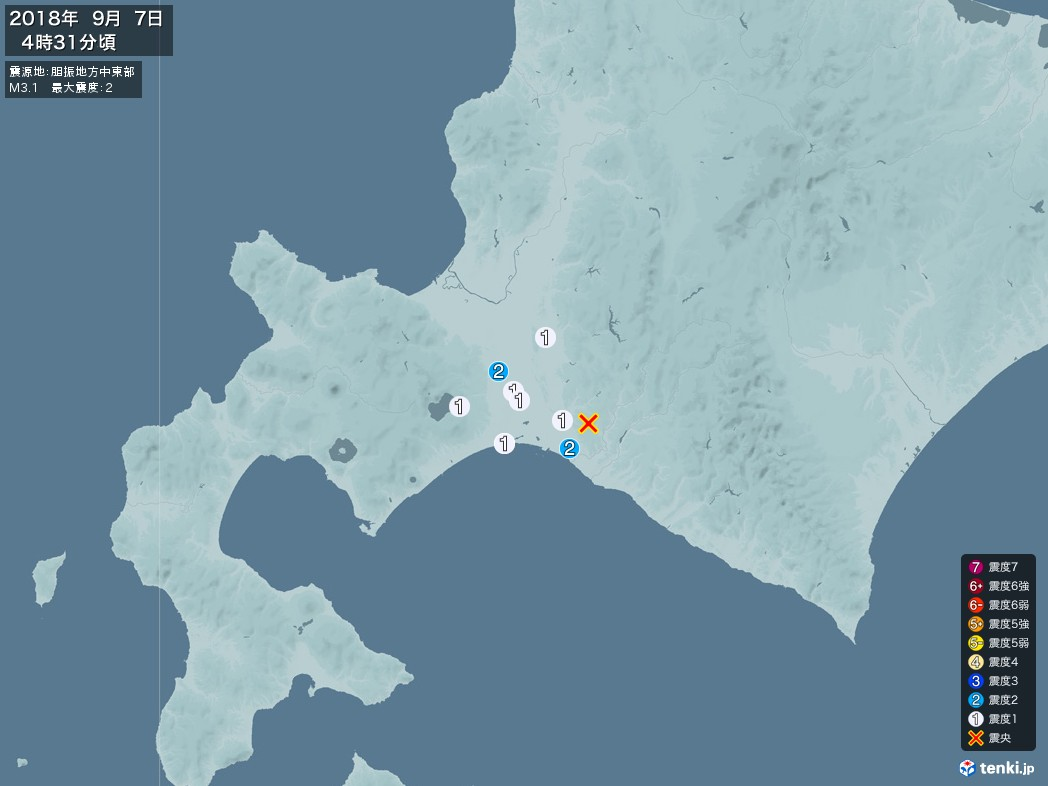 地震情報 2018年09月07日 04時31分頃発生 最大震度:2 震源地:胆振地方中東部(拡大画像)