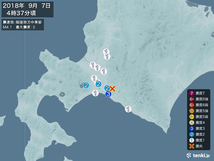 地震情報(2018年09月07日04時37分発生)