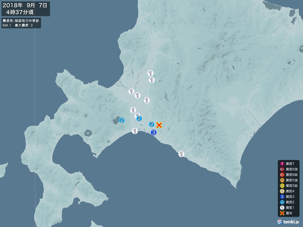 地震情報 2018年09月07日 04時37分頃発生 最大震度:3 震源地:胆振地方中東部(拡大画像)