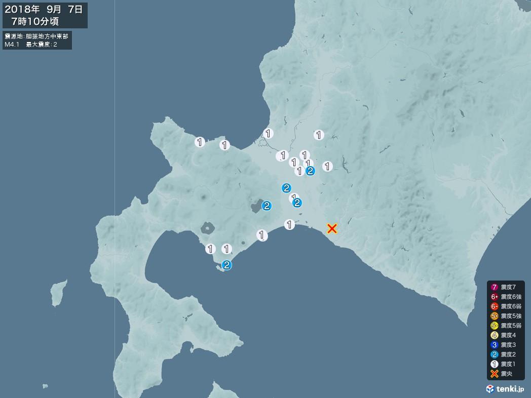 地震情報 2018年09月07日 07時10分頃発生 最大震度:2 震源地:胆振地方中東部(拡大画像)