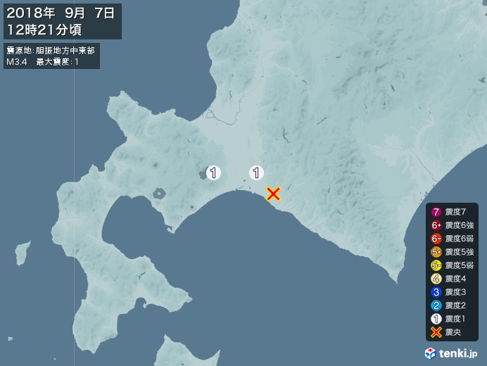 地震情報(2018年09月07日12時21分発生)