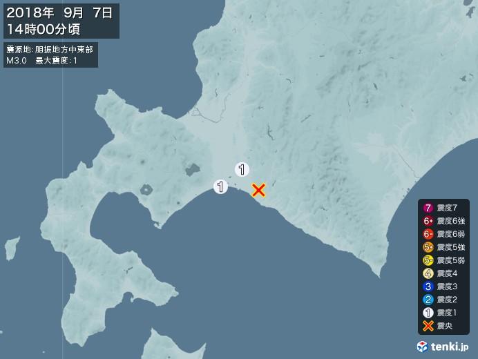 地震情報(2018年09月07日14時00分発生)