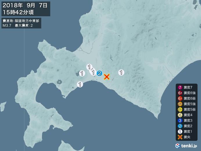 地震情報(2018年09月07日15時42分発生)
