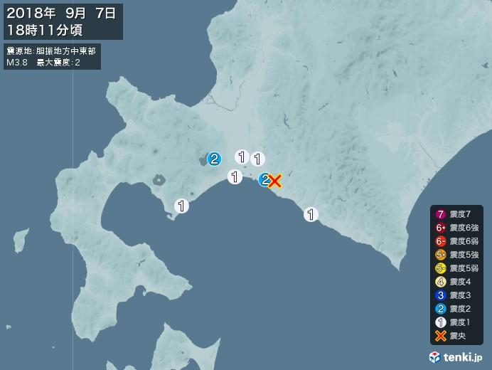 地震情報(2018年09月07日18時11分発生)