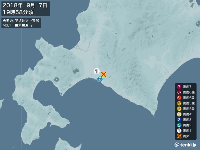地震情報(2018年09月07日19時58分発生)