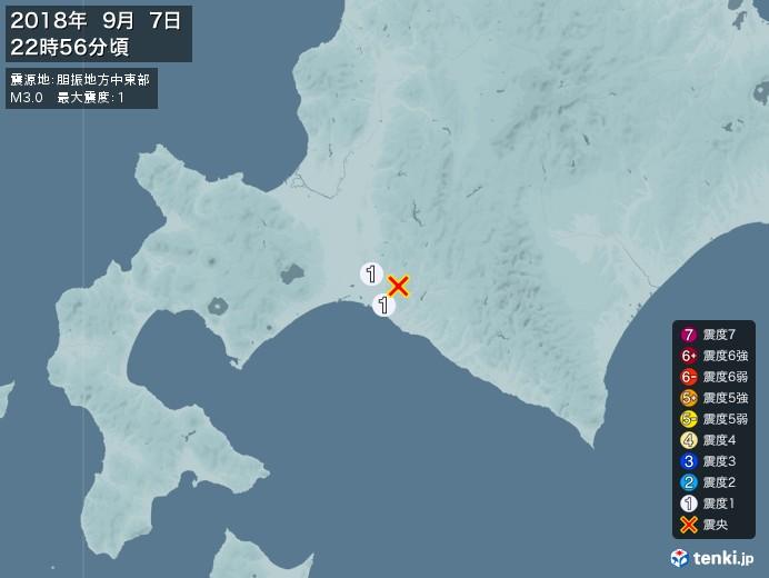 地震情報(2018年09月07日22時56分発生)