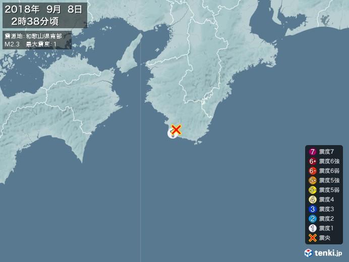 地震情報(2018年09月08日02時38分発生)