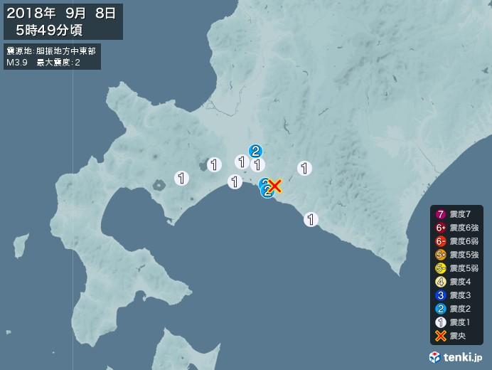 地震情報(2018年09月08日05時49分発生)