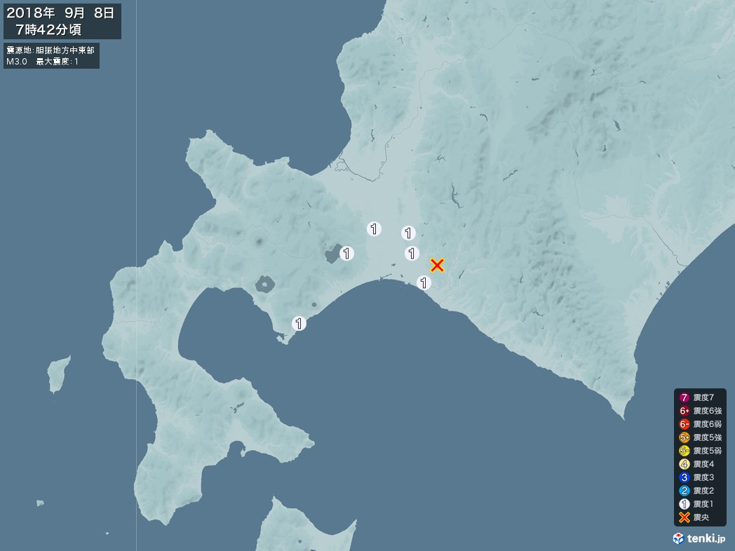 地震情報 2018年09月08日 07時42分頃発生 最大震度:1 震源地:胆振地方中東部(拡大画像)