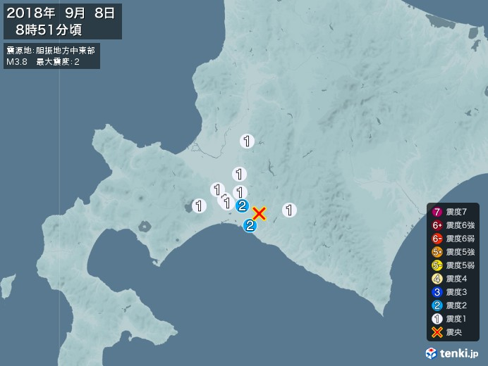 地震情報(2018年09月08日08時51分発生)