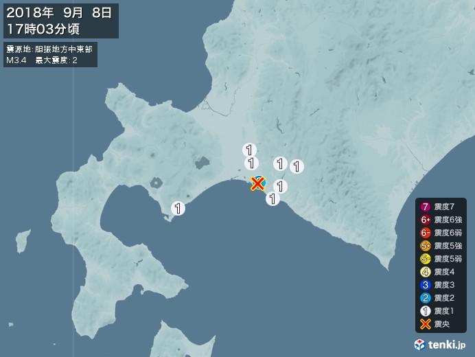 地震情報(2018年09月08日17時03分発生)
