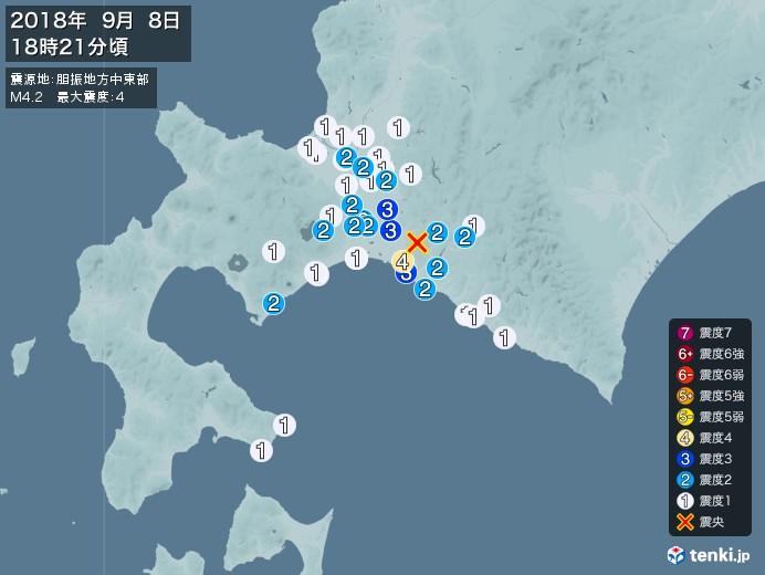 地震情報(2018年09月08日18時21分発生)