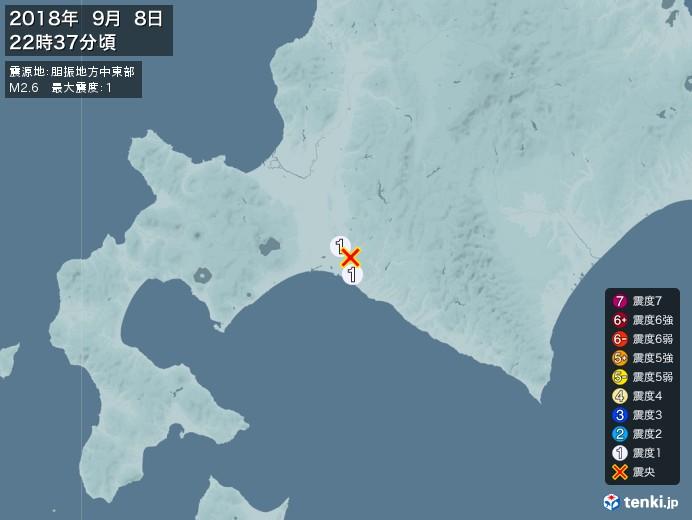 地震情報(2018年09月08日22時37分発生)