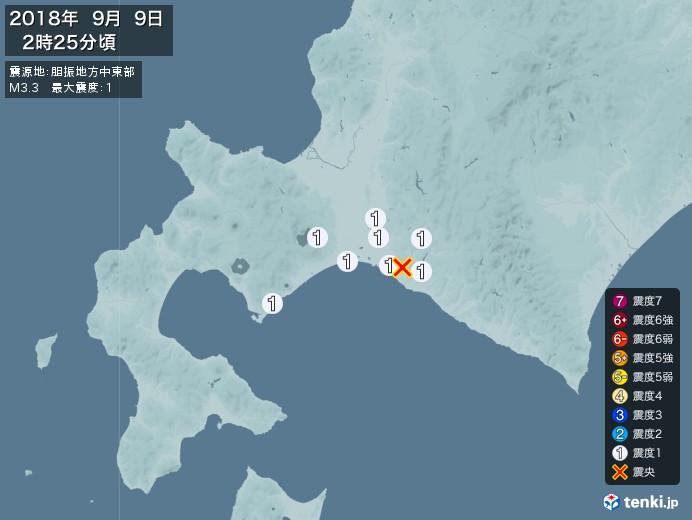 地震情報(2018年09月09日02時25分発生)