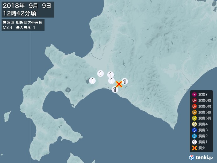 地震情報(2018年09月09日12時42分発生)