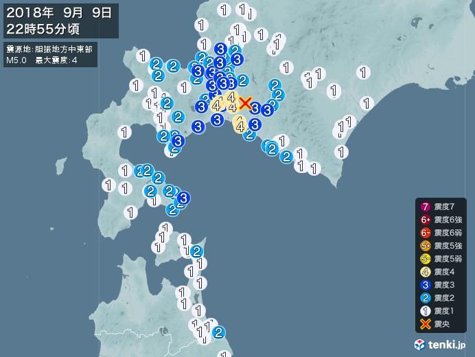 地震情報(2018年09月09日22時55分発生)