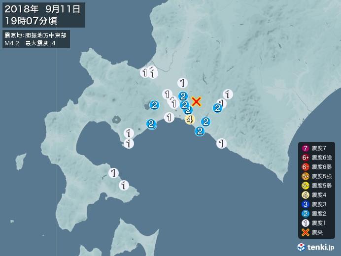 地震情報(2018年09月11日19時07分発生)