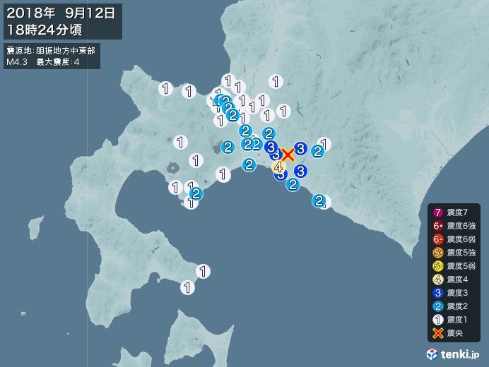 地震情報(2018年09月12日18時24分発生)